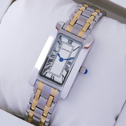 Cartier Tank Americaine watch replica 18K yellow gold and steel
