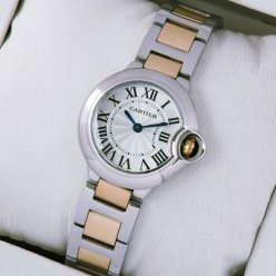 Ballon Bleu de Cartier small quartz watch replica 18kt pink gold and steel
