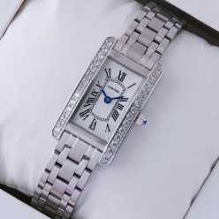 Cartier Tank Americaine steel replica watch for women