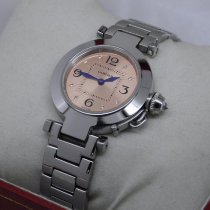 Cartier Pasha C replica small ladies watches of pink salmon dial
