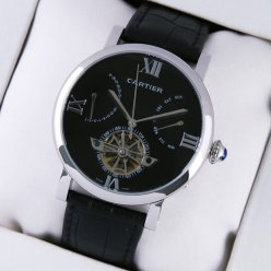 Rotonde de Cartier tourbillon black dial watch fake for men