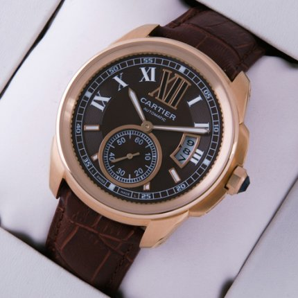Calibre de Cartier pink gold watch W7100007 brown dial