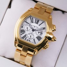 Cartier Roadster Chronograph imitation watch yellow gold for men