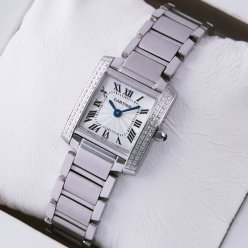 Cartier Tank Francaise women replica watch with two rows diamonds on bezel