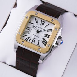 Cartier Santos 100 automatic mens watch two-tone yellow gold and steel