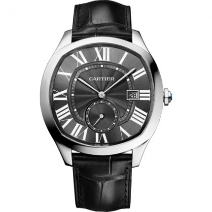 Drive de Cartier watches steel black dial and leather strap WSNM0009