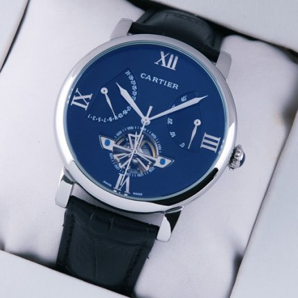 Rotonde de Cartier tourbillon blue dial steel black leather strap replica watch for men