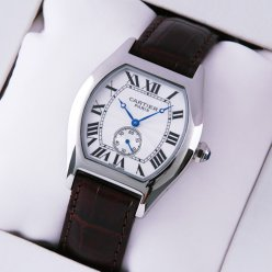 Cartier Tortue imitation watch medium brown leather strap