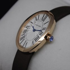 Cartier Baignoire swiss watch replica 18K pink gold coffee satin strap for women