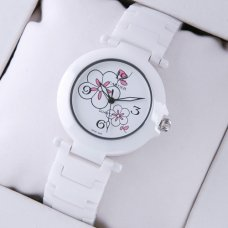 Pasha de Cartier white ceramic womens watches white flowers dial
