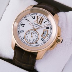 Calibre de Cartier pink gold watch W7100009 silver dial brown leather strap