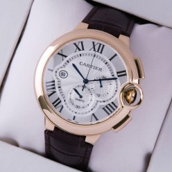 Ballon Bleu de Cartier large chronograph watch silver dial 18K pink gold