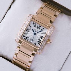 Cartier Tank Francaise diamond men watch 18K pink gold