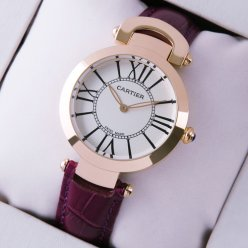 Cartier Ronde Solo replica watch for women pink gold silver dial