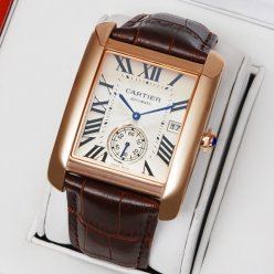 Cartier Tank MC W5330001 pink gold silver dial brown leather strap