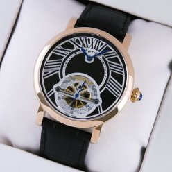 Rotonde de Cartier tourbillon mens watch replica pink gold