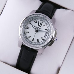 Calibre de Cartier diamond womens watch replica silver dial