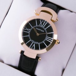 Cartier Ronde Solo replica watch for women pink gold black dial