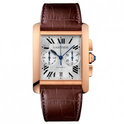Cartier Tank MC Chronograph mens watch W5330005 pink gold silver dial