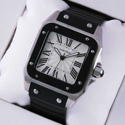 Cartier Santos 100 stainless steel black rubber strap mens watch replica W20121U2