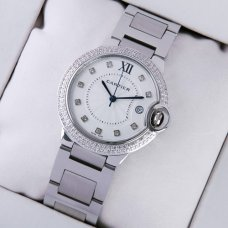 Ballon Bleu de Cartier steel watch with two rows diamonds on bezel