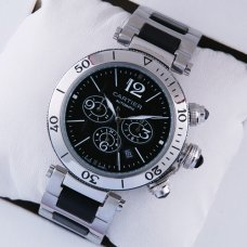 Pasha de Cartier Chronograph watches black dial for mens