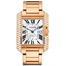 Cartier Tank Anglaise bezel 18K pink gold mens watch WT100004
