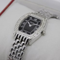 Cartier Tortue diamond watch steel black dial for women