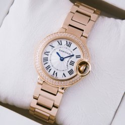 Ballon Bleu de Cartier quartz pink gold watch with diamond bezel