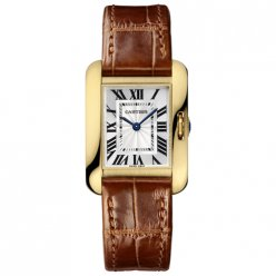 Cartier Tank Anglaise women W5310028 18K yellow gold brown leather strap