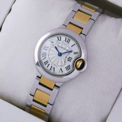 Ballon Bleu de Cartier small quartz watch 18kt yellow gold and steel