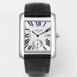 Cartier Tank MC automatic mens watch W5330003 steel silver dial