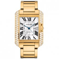 Cartier Tank Anglaise diamond bezel 18K yellow gold mens watch WT100007