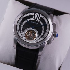 Calibre de Cartier Flying Tourbillon watch replica steel black dial