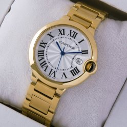 Ballon Bleu de Cartier neutral Quarzuhr Replik 18 Karat Gelbgold