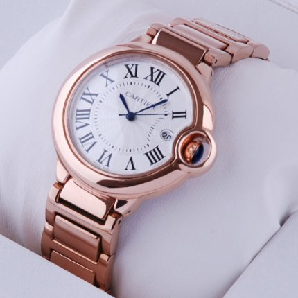 Ballon Bleu de Cartier Medium Quarz uhr Replik 18kt Rotgold
