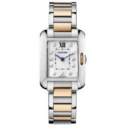 Cartier Tank Anglaise Diamant Uhr WT100024 Rotgold und Stahl