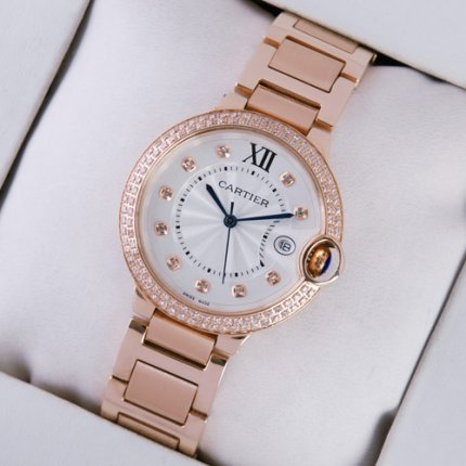 Ballon Bleu de Cartier montres serties de diamants de quartz rose 18 kt datent or