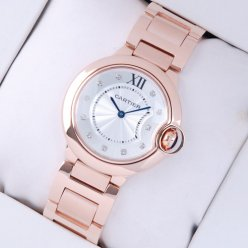 Ballon Bleu de Cartier montre à quartz suisse 18 kt de diamant cadran en or rose
