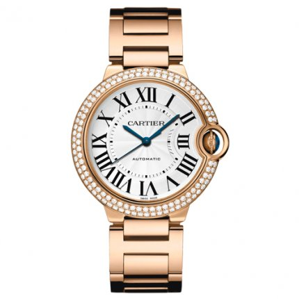 Ballon Bleu de Cartier montre automatique suisse rose 18 carats de diamants d'or lunette