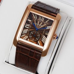 Cartier Tank MC quartz suisse montres 18K brun cadran en or rose
