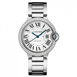 Ballon Bleu de Cartier Les montres automatiques or blanc de 18 diamants d'or lunette