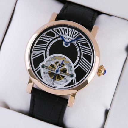 Rotonde de Cartier tourbillon hommes montre or rose réplique