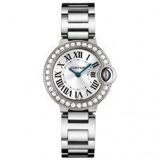 Ballon Bleu de Cartier or blanc montre WE9003Z3 avec lunette sertie de diamants