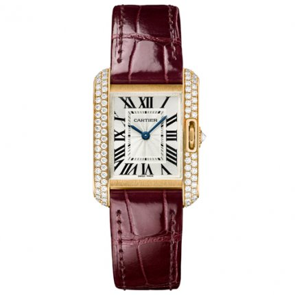 Cartier Tank Anglaise montres serties de diamants WT100013 or rose 18 carats