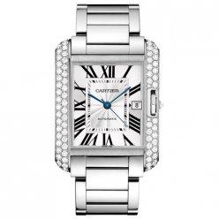 Cartier Tank Anglaise lunette sertie de diamants or blanc 18 carats regarder WT100010