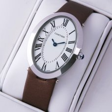 Cartier Baignoire coffee satin strap womens watch replica