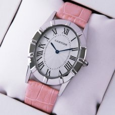 Cartier Baignoire pink leather strap imitation watch for women