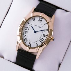 Cartier Baignoire pink gold imitation watch black leather strap