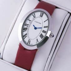 Cartier Baignoire crimson satin strap steel womens watch replica